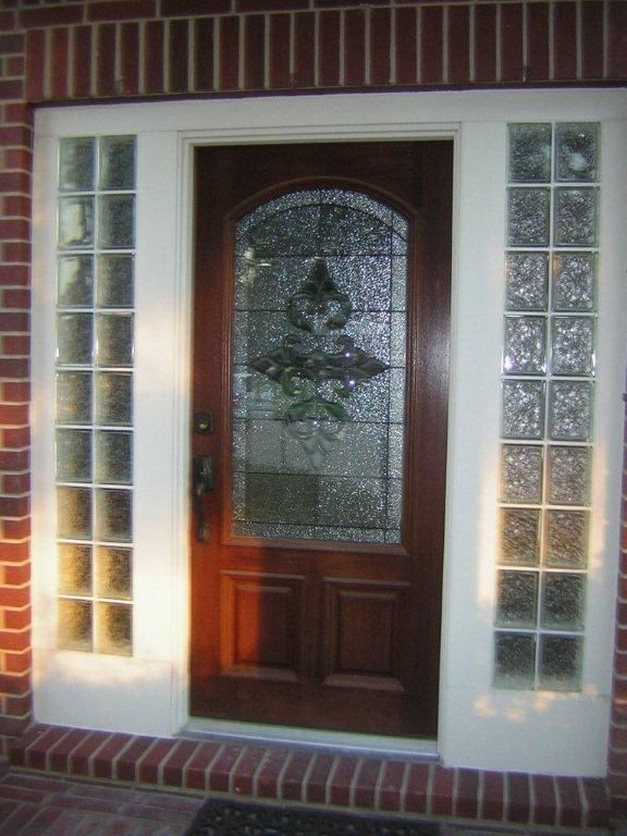 009 2 Hallway Glass Front Door Doors Glass Blocks Wall