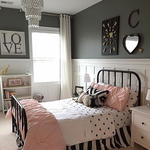 Little girls room  Pottery Barn  shanty 2 chic  hobby lobby  Homegoods and  Target  Board and batten walls set the room off with dark gray walls by  sherwin. we d happily dream in this room    mypbteen   Pinterest   Room