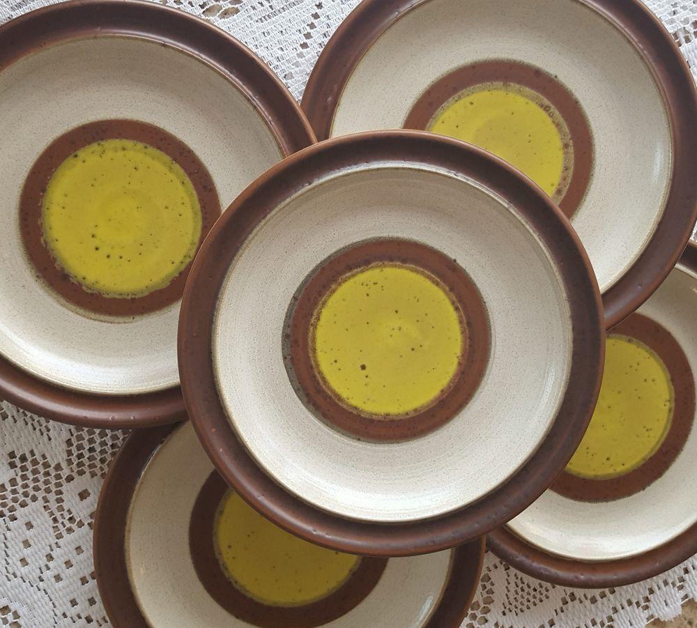 Set of 5 Vintage Denby Langley Potters Wheel Gold Yellow Salad Plates Dessert #Denby # & Set of 5 Vintage Denby Langley Potters Wheel Gold Yellow Salad ...