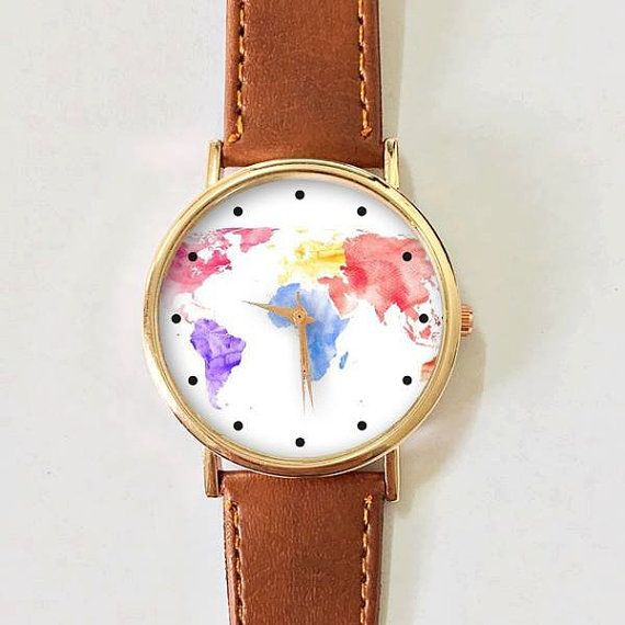 World map watercolor watch women watches mens watch leather world map watercolor watch women watches mens watch leather watch vintage style gold watch rose gold watch silver watch handmade gumiabroncs Image collections