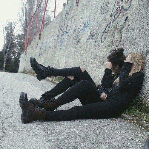 """""""Oh well, then just don't show me your faces!"""" Emmeline and Marlene wearing all black. Taken by Hestia"""