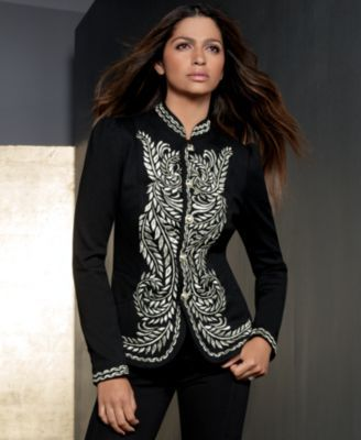 INC International Concepts Jacket, Metallic-Embroidered Band