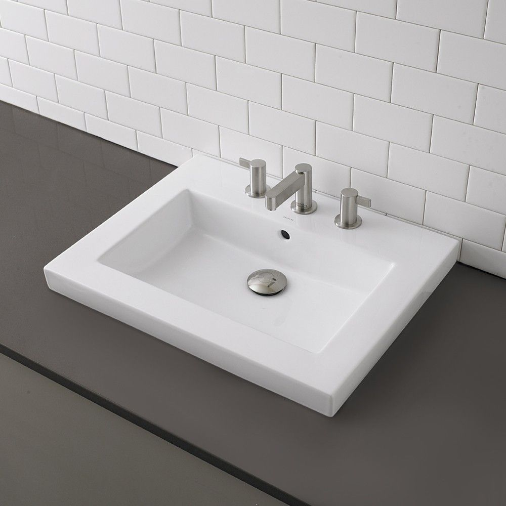 Decolav Classically Redefined Rectangular Semi Recessed Bathroom Sink Rectangular Sink Bathroom Modern Bathroom Sink Above Counter Bathroom Sink
