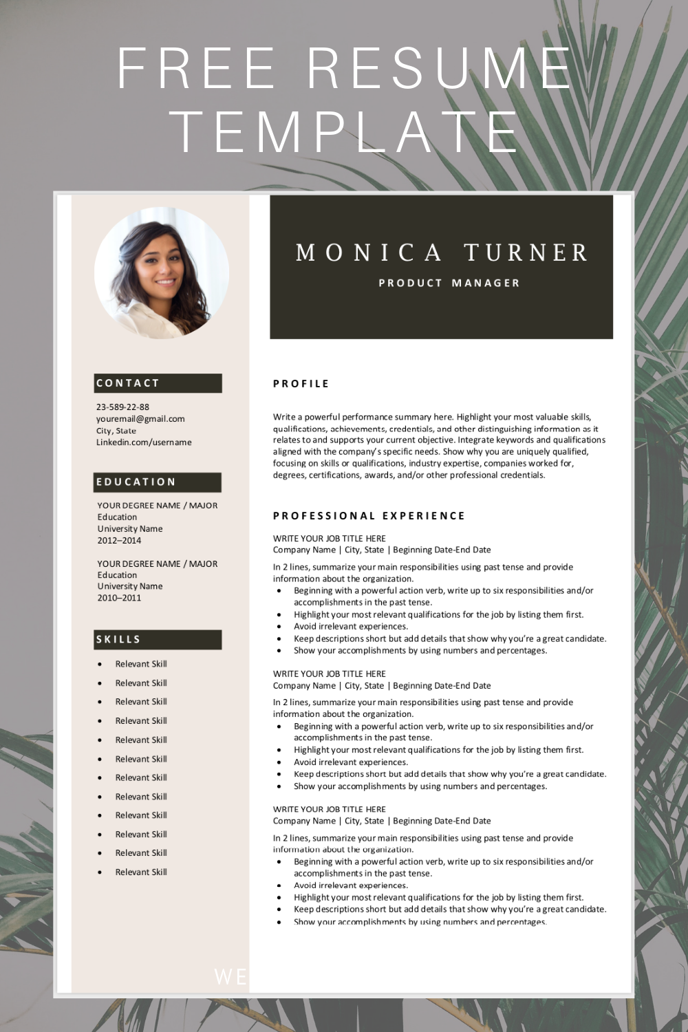 Are you looking for a free, editable resume template? Sign