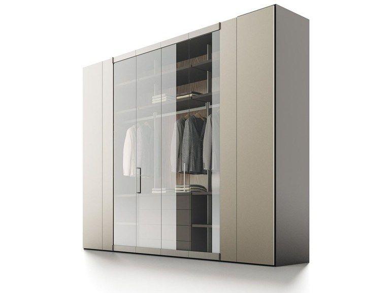 Armoire composable laquée en bois et verre ROOMY Armoire en bois - Armoire Ikea Porte Coulissante