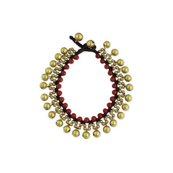 NOVICA Fair Trade Beaded Bracelet with Red Quartz and Brass ($25) ❤ liked on Polyvore featuring jewelry, bracelets, beaded, brass, clothing & accessories, quartz jewelry, cord jewelry, red jewellery, beads jewellery and braid jewelry