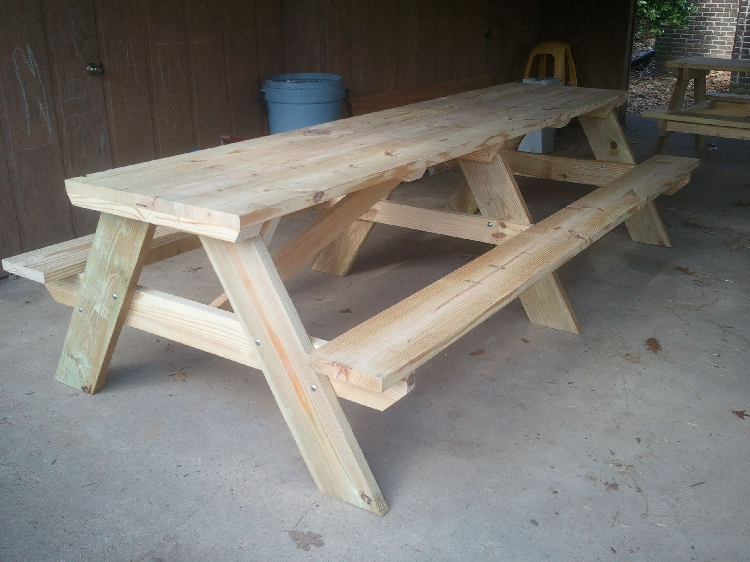 A While Ago I Was Asked To Build A Couple Large Picnic Tables They Were To Be Used Under A Carport For Teachi Diy Picnic Table Picnic Table Picnic Table Plans