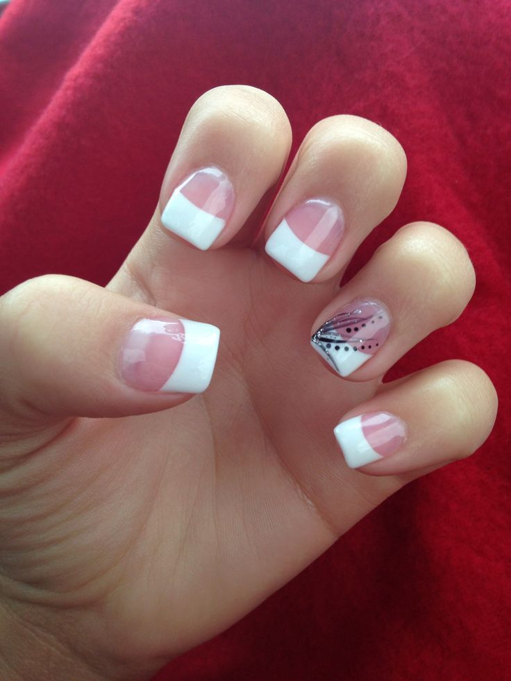 french manicure with black silver line daisy | French tip with black ...