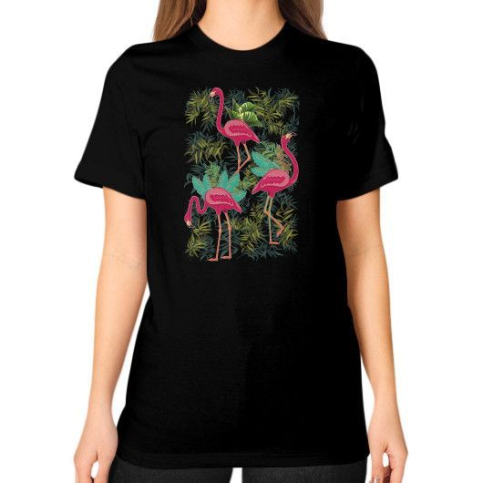 Pink Flamingos Exotic Birds Unisex T-Shirt (on woman)