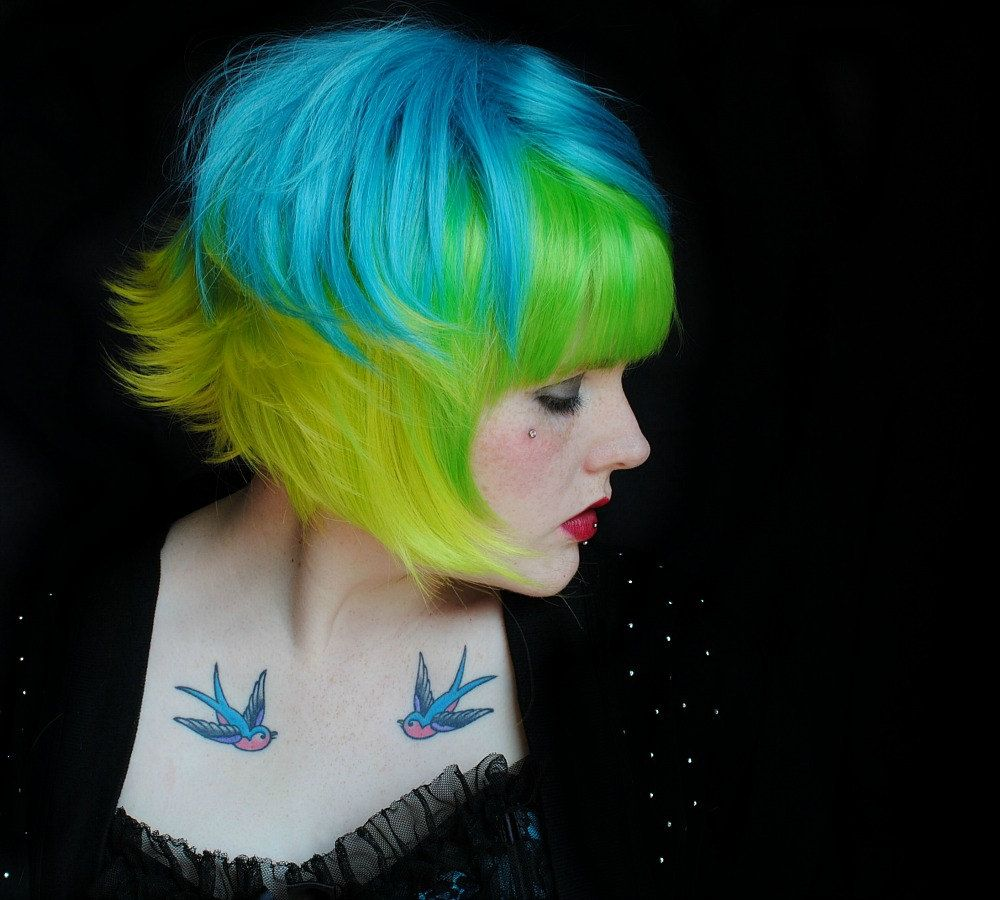 Sour green apple wig halloween green yellow turquoise blue hair