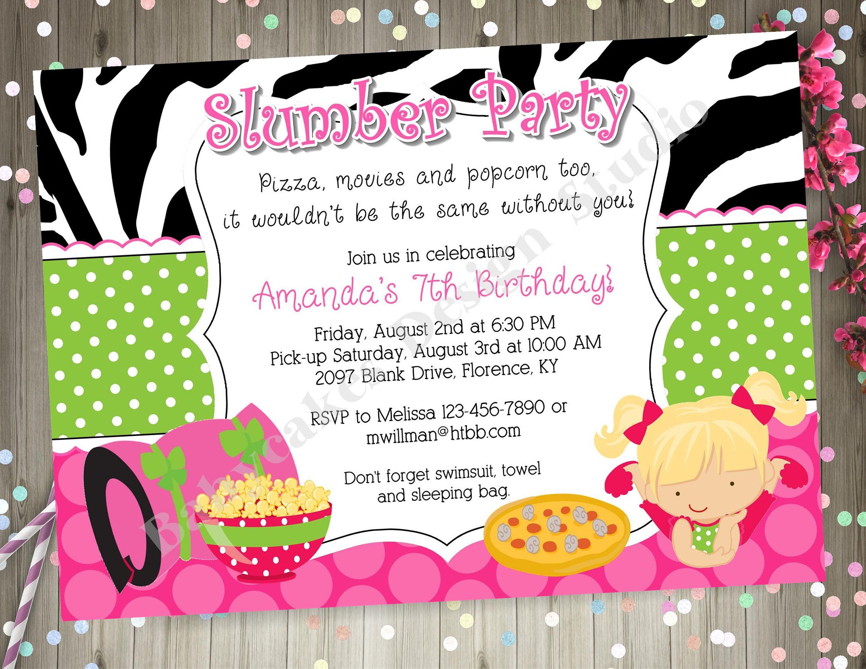 Slumber Party Invitation invite Sleepover Birthday Party Invitation ...