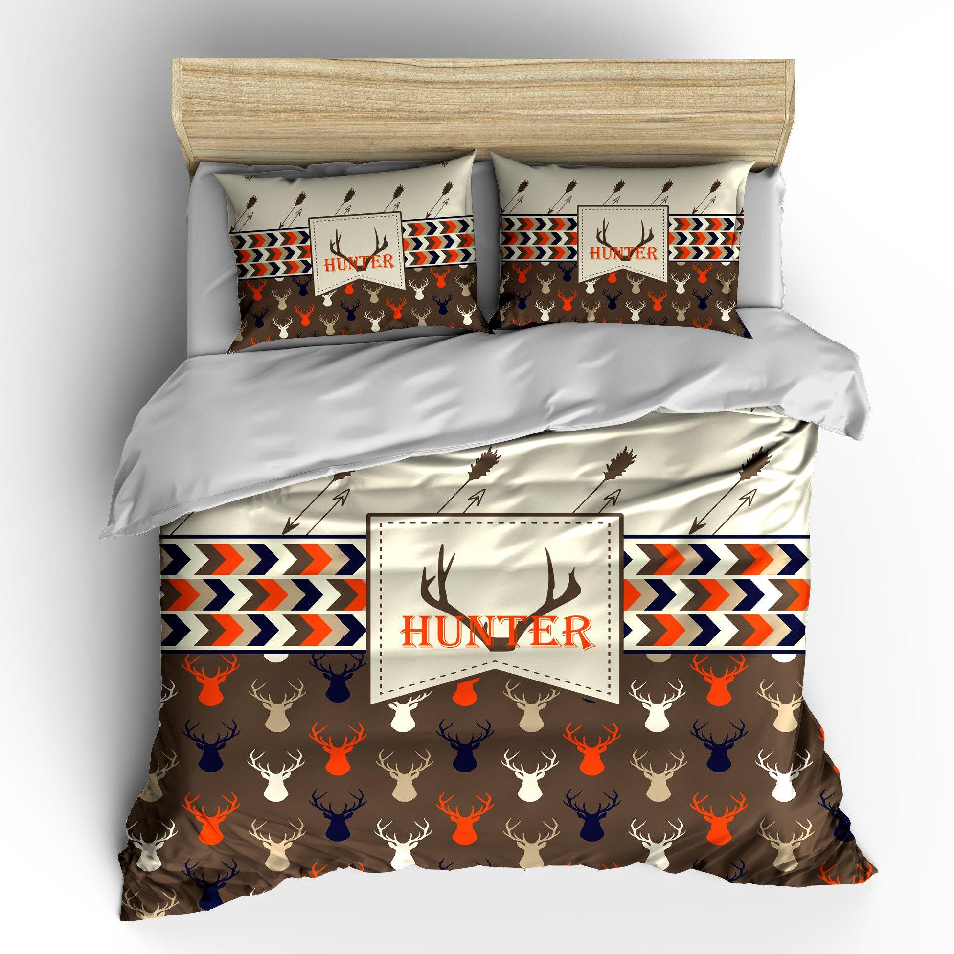 Deer Head And Antler Bedding Set Ii Duvet Or Comforter Duvet Bedding Sets Custom Bed Bed