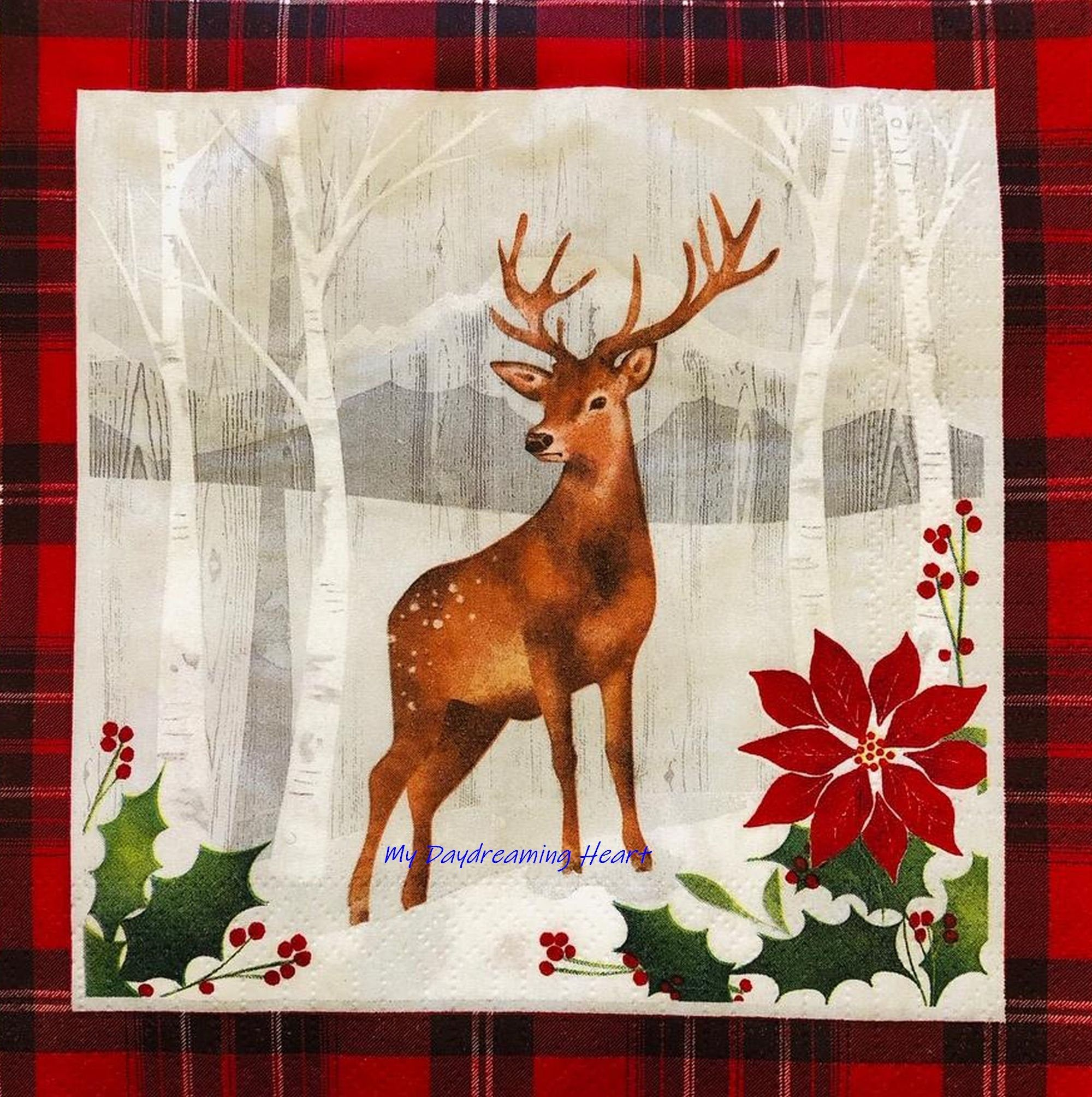 Christmas Deer Decoupage Napkins Outdoor Winter Scene Paper Napkins For Decoupage Birch Trees Poinsettia Holly #papernapkins