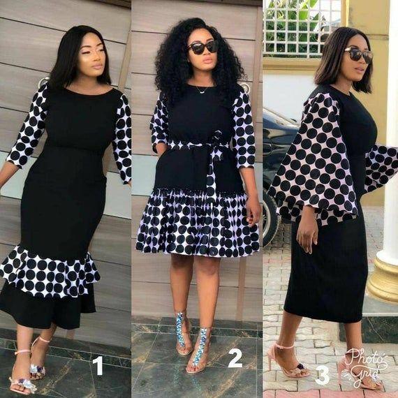 Robe africaine, robe de femme africaine, robe Ankara, robe noire, robe noir et blanc, robe chic, robe élégante