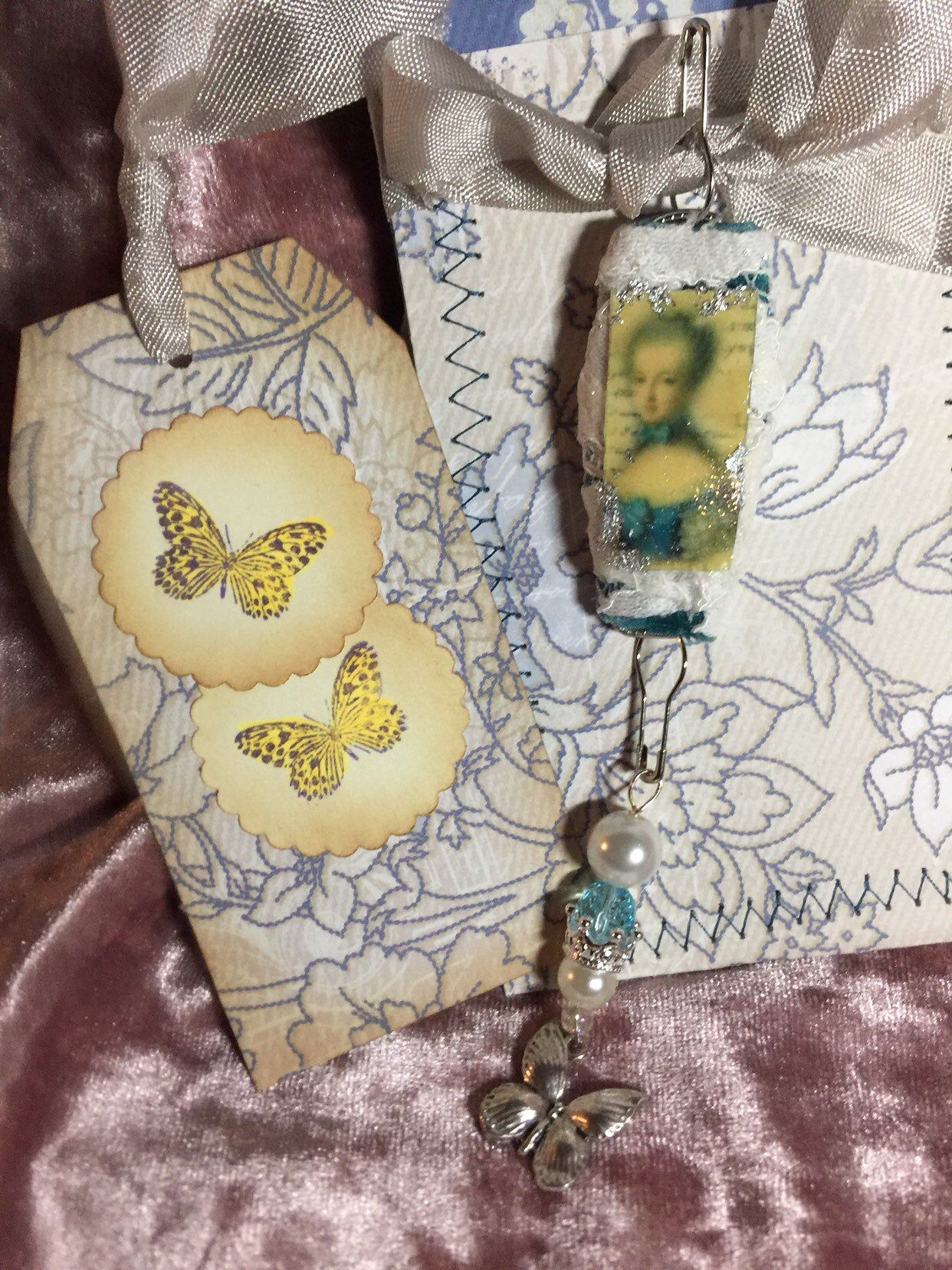 Junk journal boho bead charm with tag and pocket book