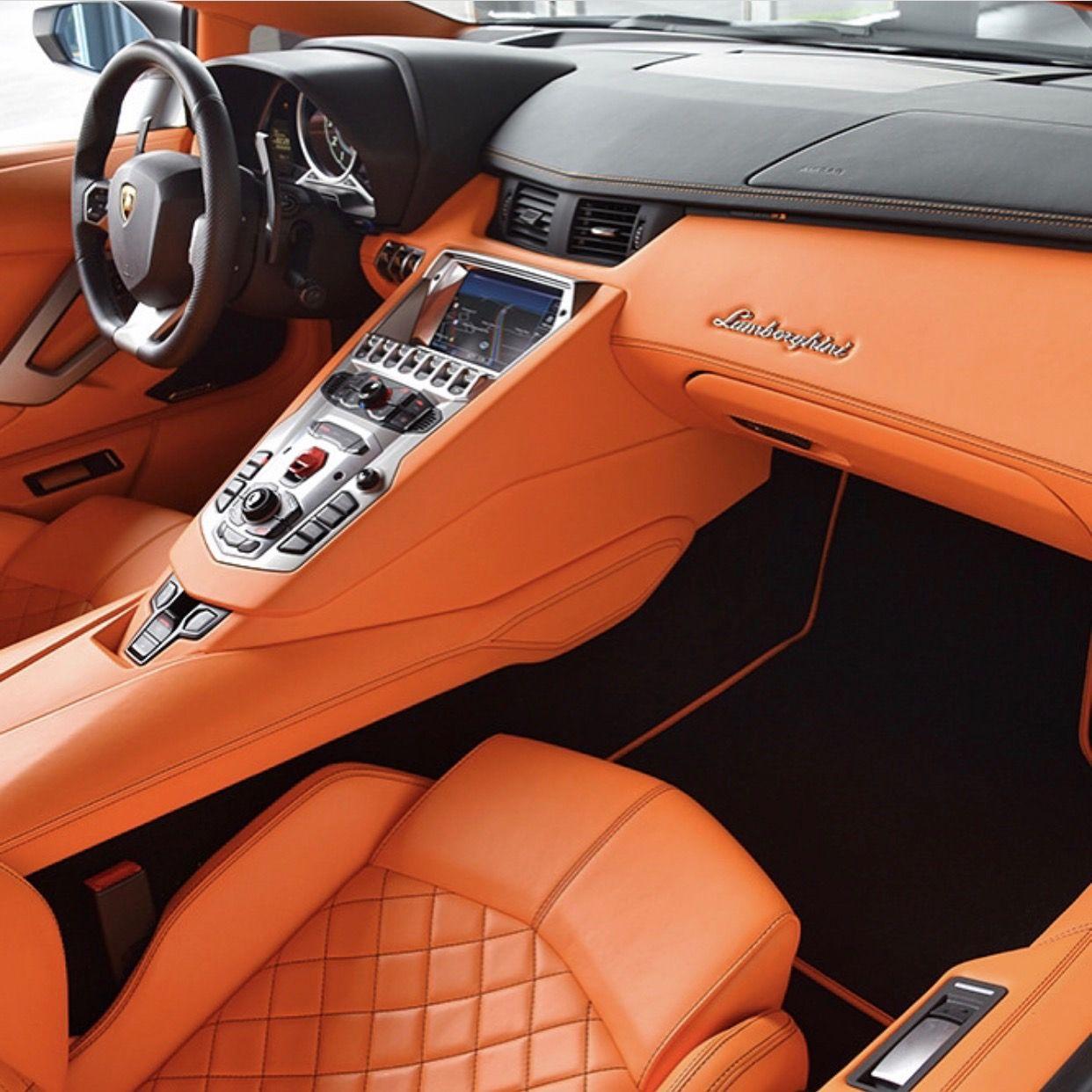 An Orange Leather Interior From A Lamborghini Aventador