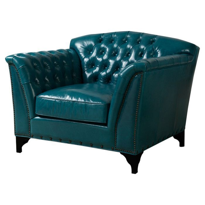Oversized Teal Leather Chair Furniture Top Grain Leather Chairs
