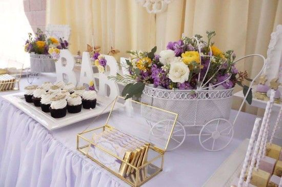 Elegant Yellow And Purple Baby Shower Desserts Table Elegant