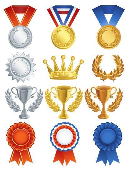 トロフィー優勝カップ金銀銅メダル王冠月桂冠賞バッジ ベクター