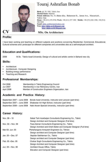Contoh Curriculum Vitae Bahasa Inggris 30+ Contoh Daftar