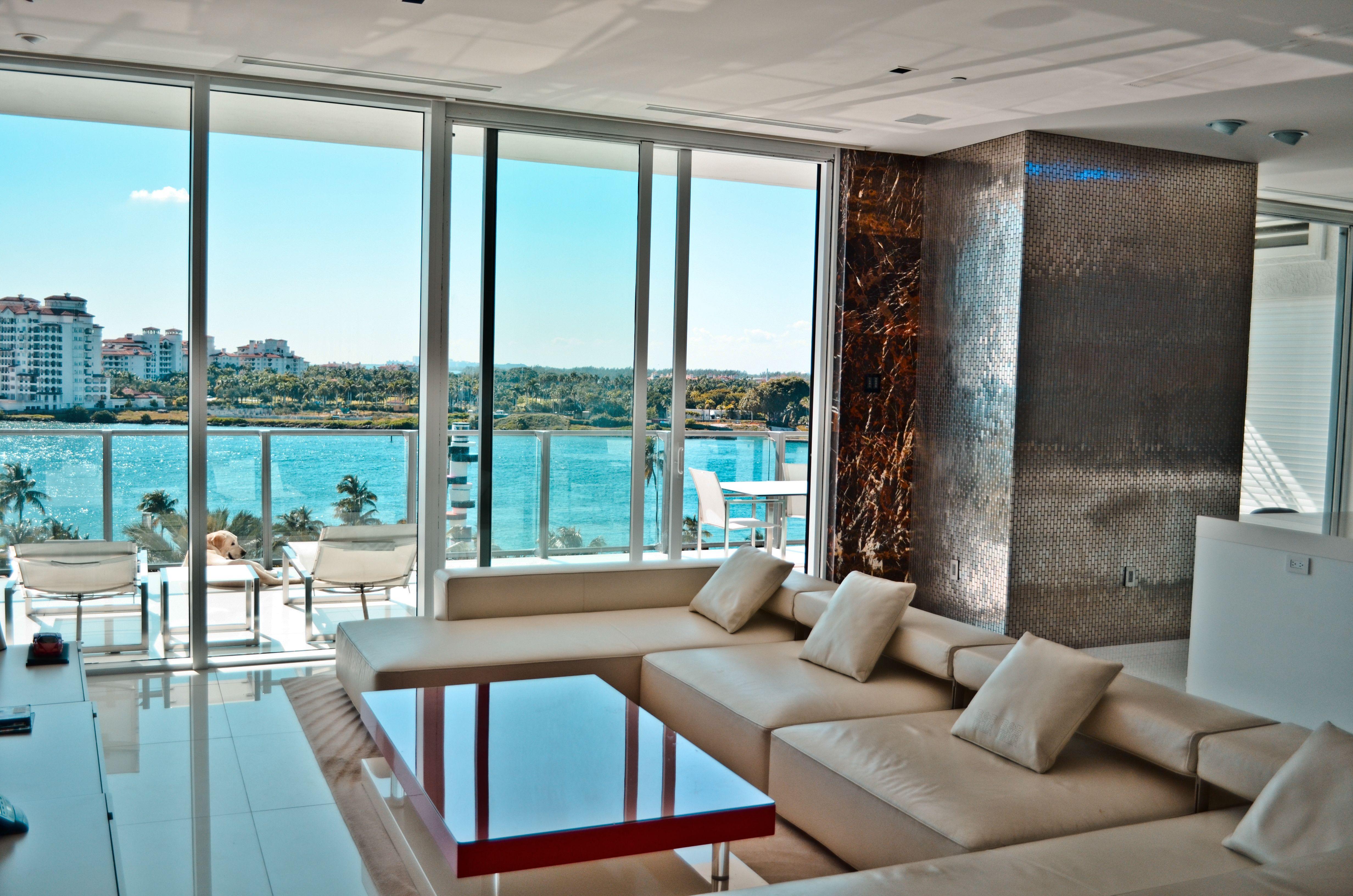 Living Room / Ocean View / Custom Furniture / Marble And Metallic Accents /  Modern / Contemporary / Miami Beach / South Beach / Apogee / Rockstar  Interiors