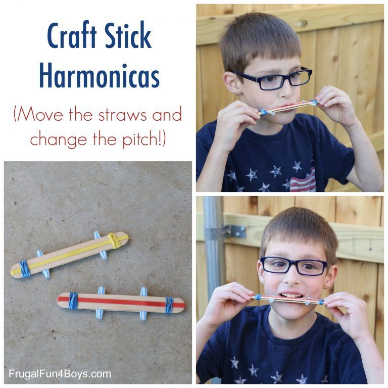 Sound Science for Kids Make a Craft Stick Harmonica is part of Kids Crafts Science How To Make - Love this post  Then pass it on!This craft stick harmonica is fun to play, and you can adjust the pitch by moving the straws! It's a neat project, and a good one to make with a group because the materials are very inexpensive  You can fit in a little science learning too   see the   Read More »