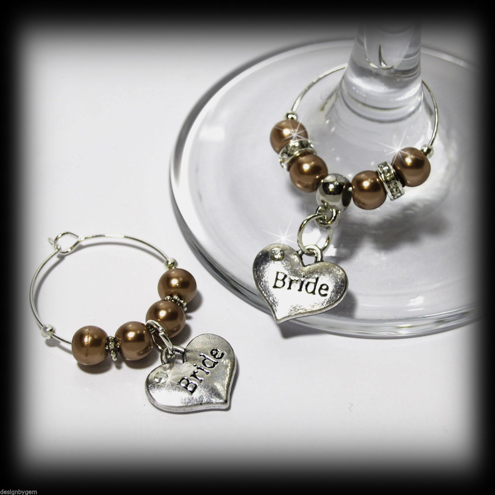 Beautiful Mocha Wedding Wine Gl Charms For Top Table Or Favours Decor