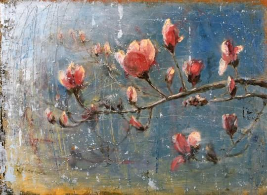 Matt Flint Spring Blossoms Oil And Wax On Canvas Floral Botanical