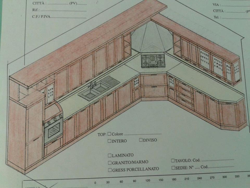 Progetto Cucina composizione con cappa ad angolo. | Cucine ...