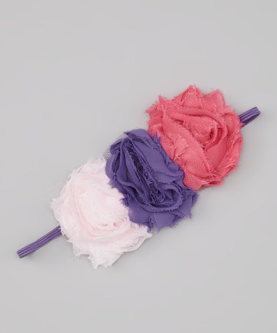 Love this Bubby & Belle Pink & Purple Triple Rosette Headband by Bubby & Belle on #zulily! #zulilyfinds