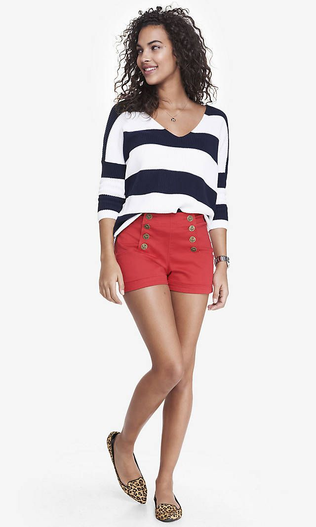 2 1/2 INCH RED HIGH WAISTED SAILOR SHORTS | Express | Trend We ...
