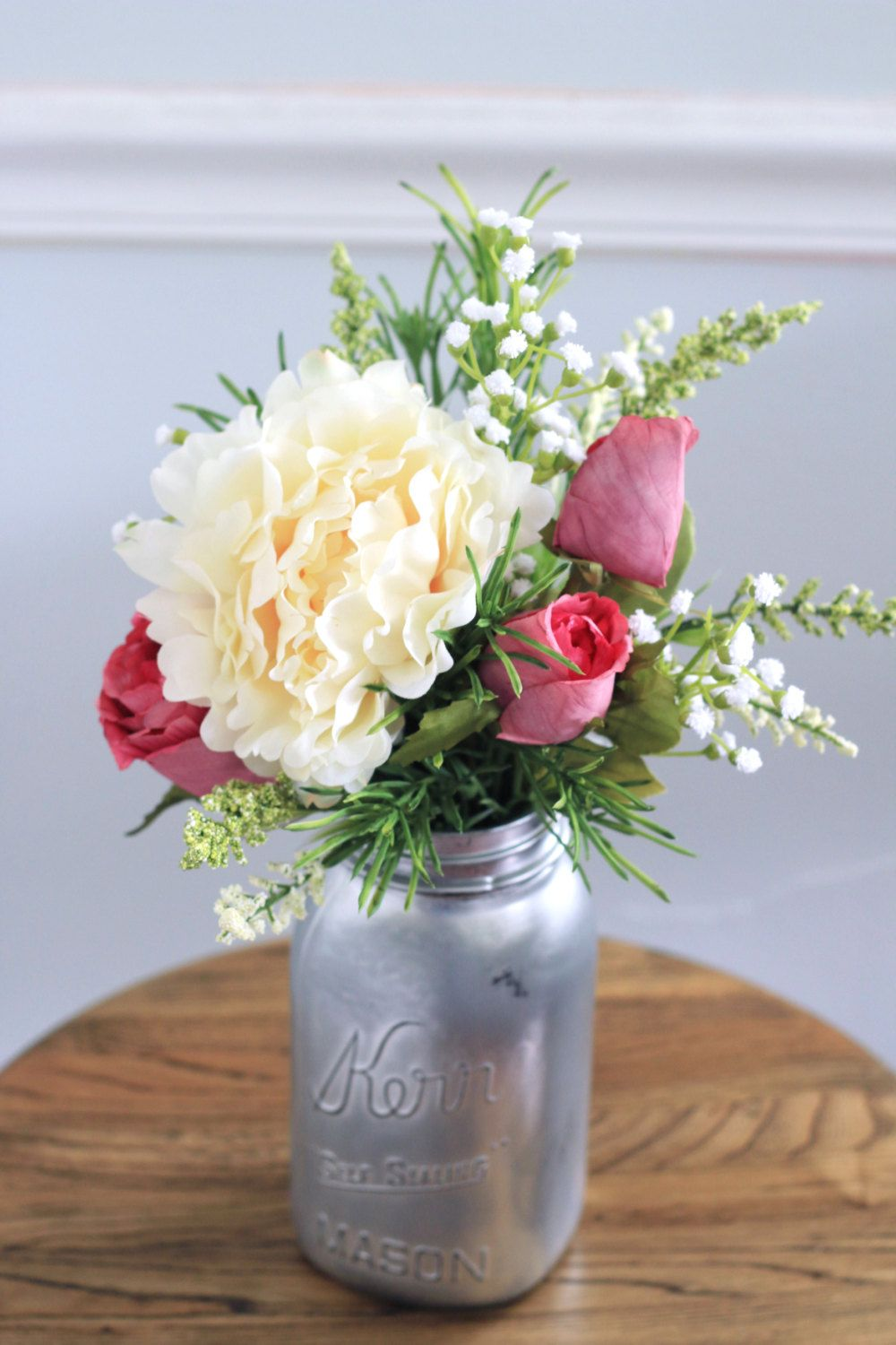 Magenta Roses, White Peony Bouquet, Faux Flowers, Vase Arrangement in Distressed Silver Jar by MarmaladeFloral on Etsy