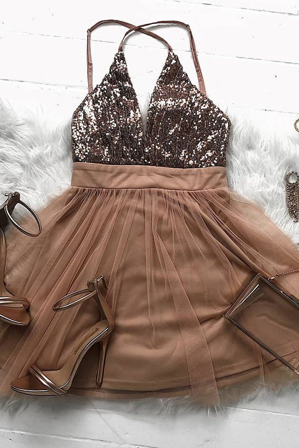 Sparkly Rose Gold Short Prom Dress,Party Dress