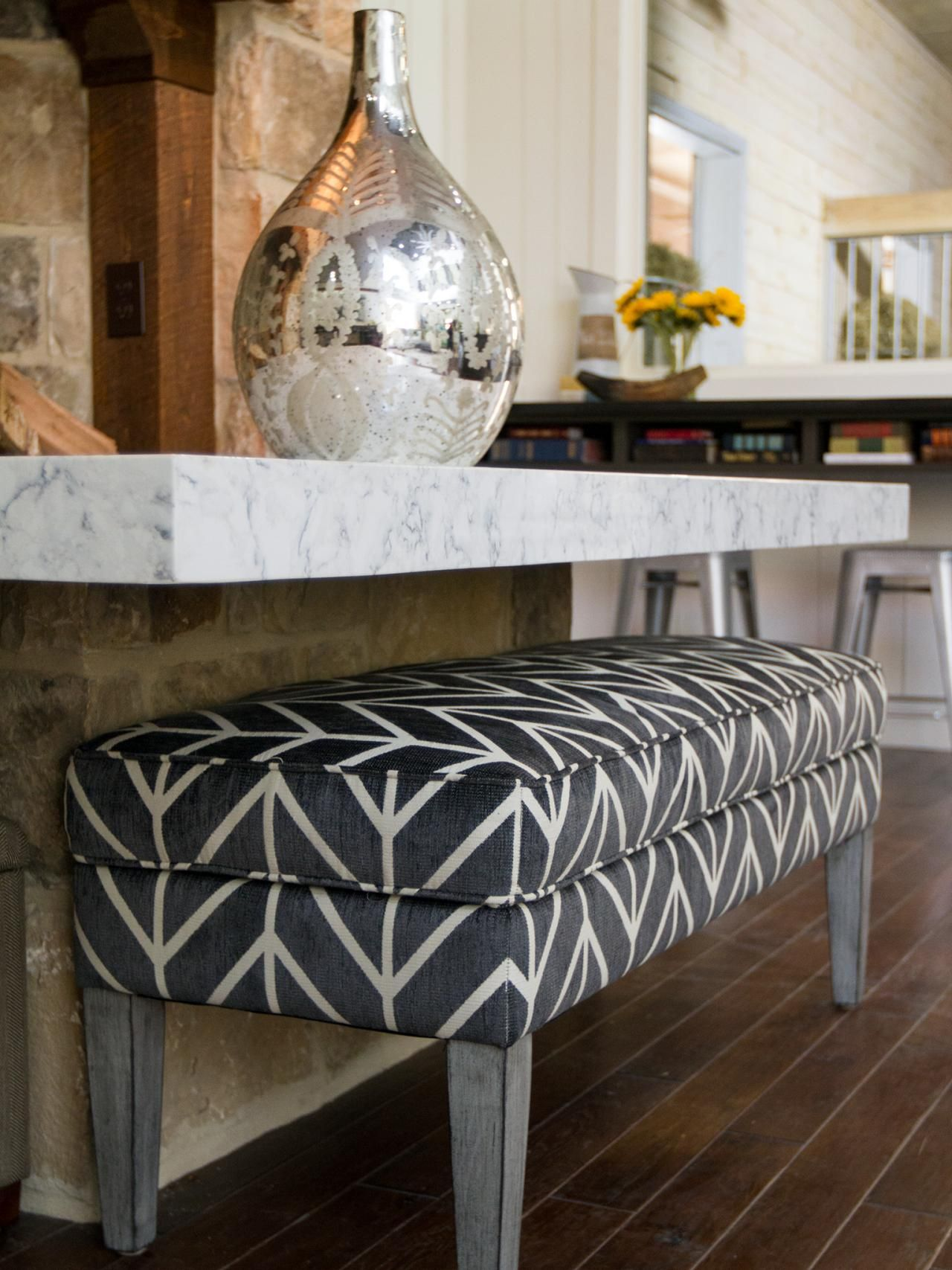 This Gray And White Upholstered Bench Provides Stylish Seating At