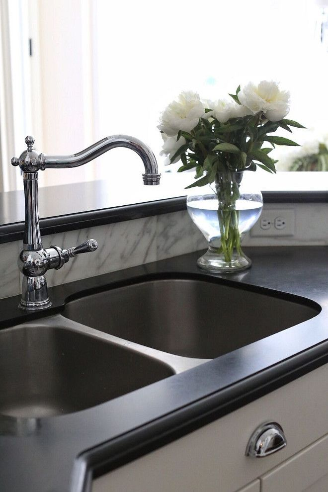 Honed granite Countertop with stainless steel sink and polished ...