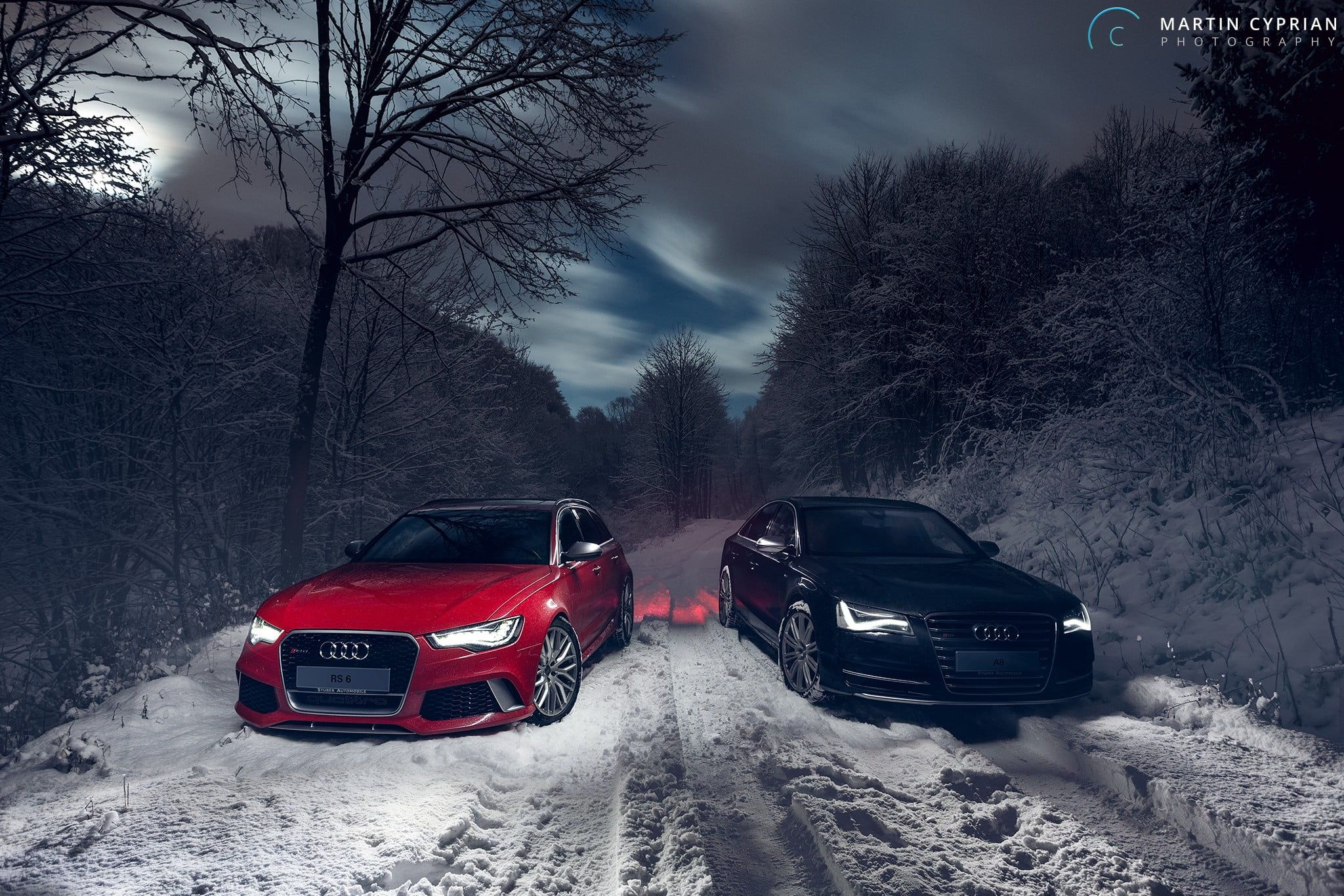 Two Black And Red Audi Cars Vehicle Car Audi Audi Rs6 Avant Audi A8 Winter Snow Trees Forest Long Exposure Clouds Martin Cy Audi Cars Red Audi Audi Rs6