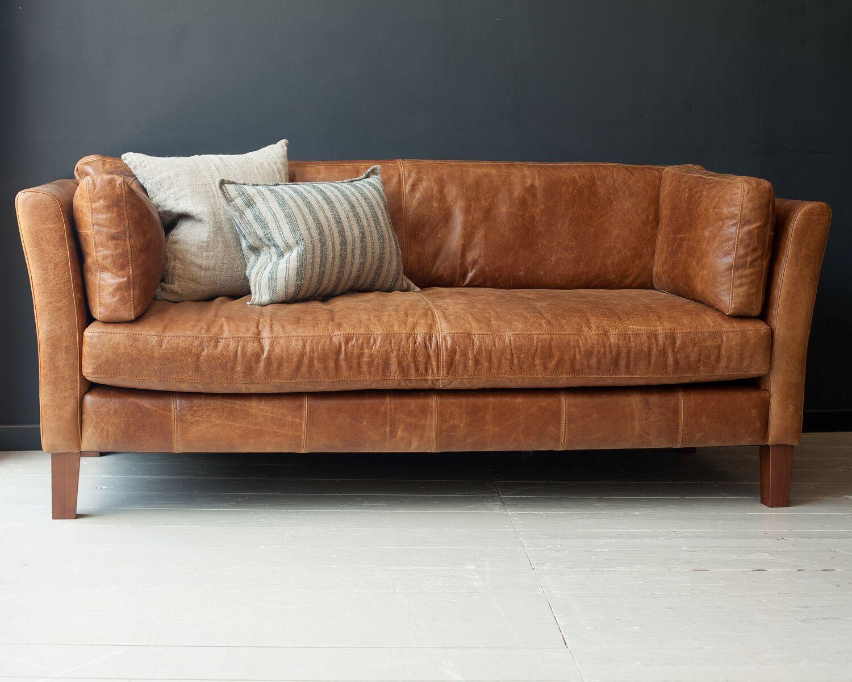 Croft Tan Leather Three Seater Sofa Italian Leather Sofa