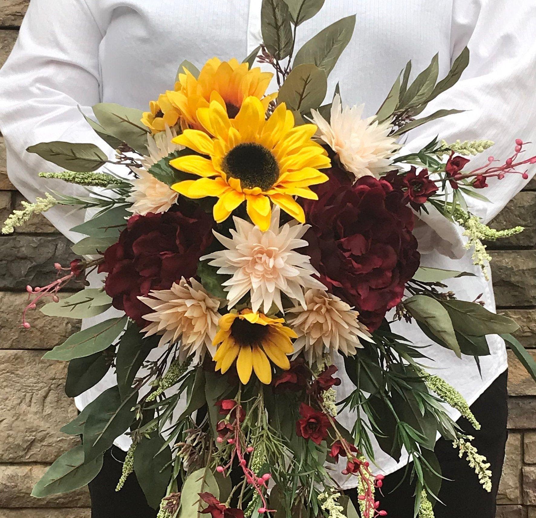 Cascading Crimson Sunflower Bridal BouquetSilk Cascading