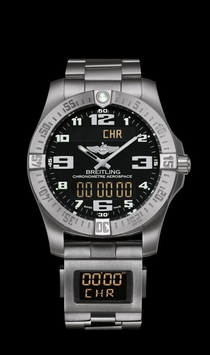 26d3ebb61c9 Breitling Aerospace Evo watch with digital Co-Pilot module on bracelet -  Ten times more accurate than standard quartz