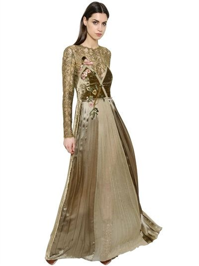 ALBERTA FERRETTI VELVET SATIN & CHIFFON DRESS, KHAKI. #albertaferretti #cloth #long dresses