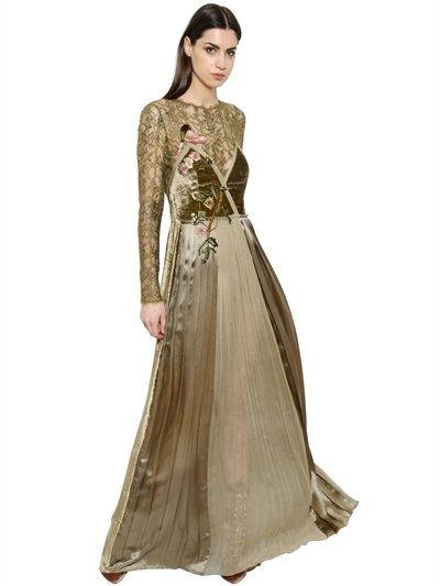 ALBERTA FERRETTI VELVET SATIN & CHIFFON DRESS, KHAKI. #albertaferretti #cloth #long dresses