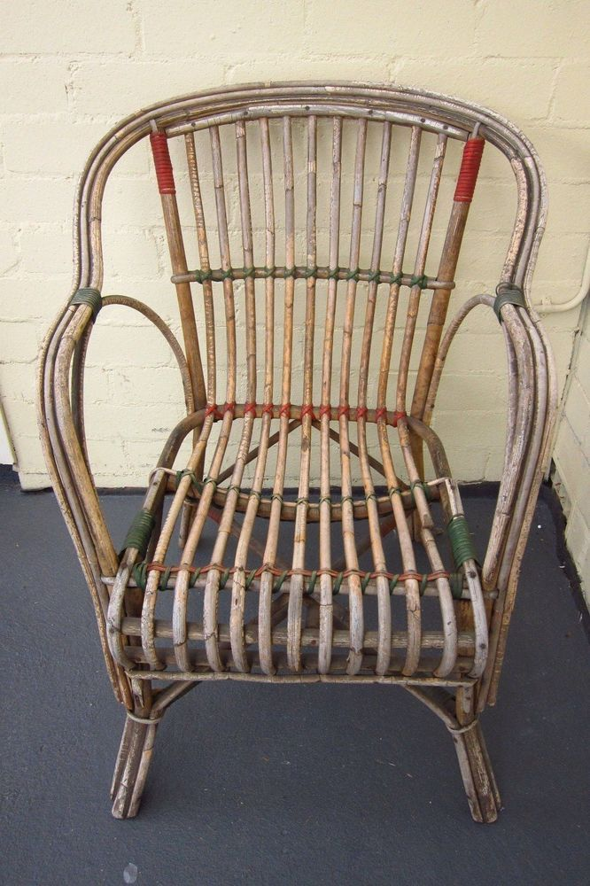 Vintage antique split cane chair - red and green bindings in Antiques,  Furniture, Chairs - Vintage Antique Split Cane Chair - Red And Green Bindings In