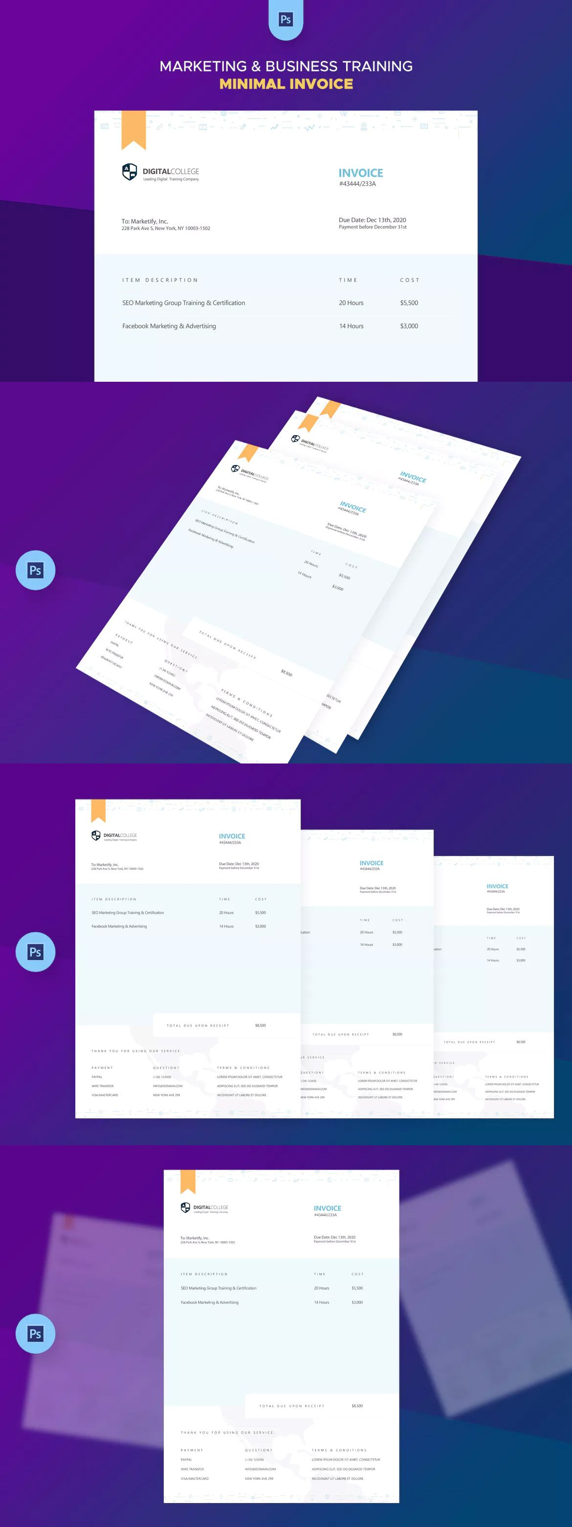 minimal invoice templates psd jpg invoice templates pinterest