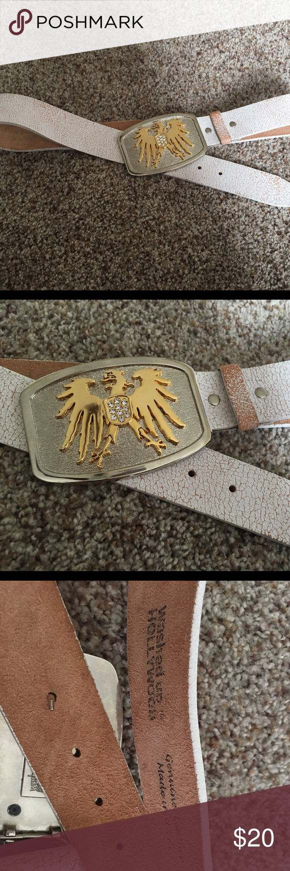 Leather belt Vintage looking leather belt with belt buckle.  Belt is genuine leather and should fit a size small/ medium waist 28 inches  ( according to size chart) Washed up hollywood Accessories Belts