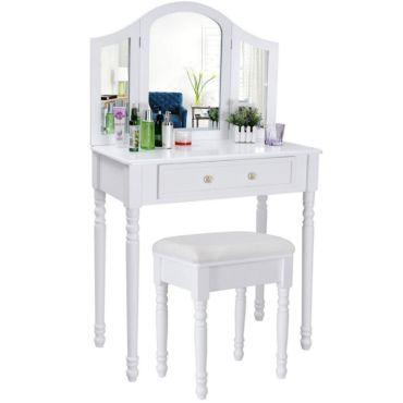 Coiffeuse Bois Avec Grand Miroir Et Tabouret Table Maquillage Blanc 1412009 Pas Cher C 39 Est Sur Conforama White Bedroom Vanity Vanity Bedroom Vanity Set