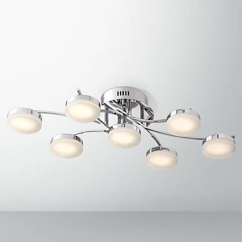Possini euro ellipse 30 1 2 wide chrome 7 led ceiling light