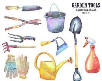Watercolor Garden Tools, Gardening Clip Art, tools clipart ...