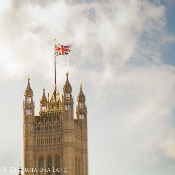 London Photo - The Union Jack, Big Ben, England Travel Photo, Home... ($25) ❤ liked on Polyvore