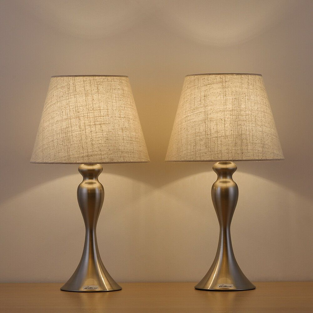 Sand Nickel Table Lamps Modern Desk Lamps Set Of 2 With Linen Shade Ebay Nickel Table Lamps Modern Table Lamp Modern Desk Lamp
