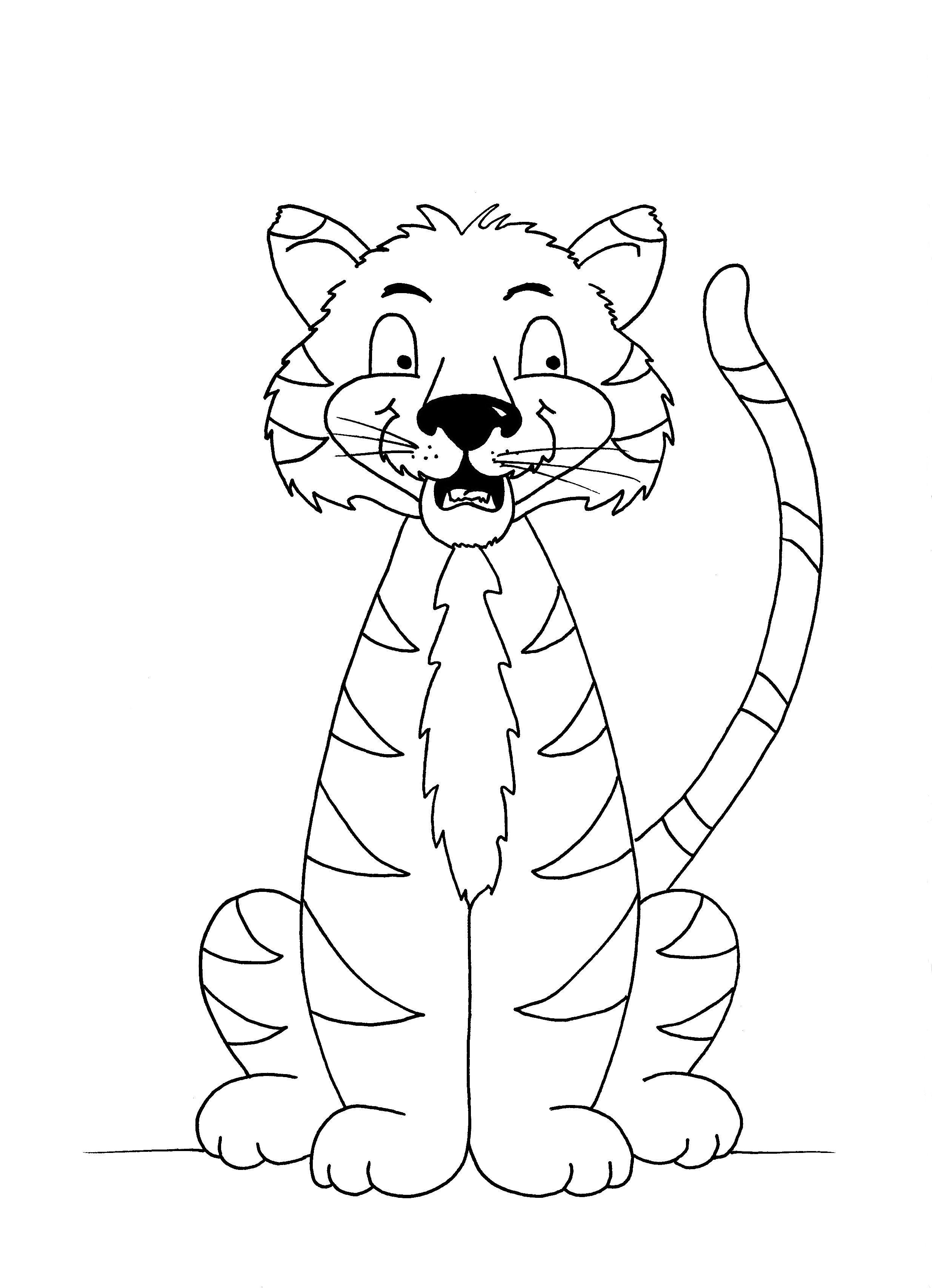 Tiger colouring sheet free PDF Templates printable